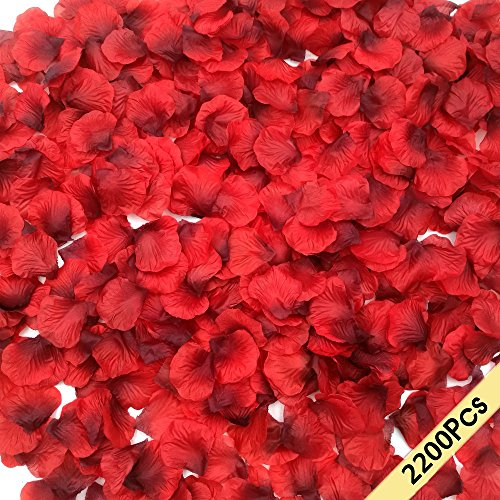 (CODE FLORIST 2200 PCS Dark-Red Silk Rose Petals Wedding Flower)