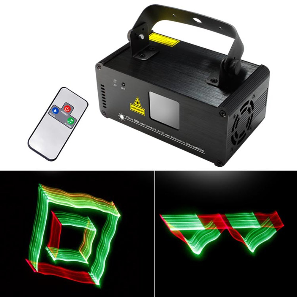 Sumger Professional DMX 3D Effect RGY Laser Show Lighting Scanner Party Light LED Projector Fantastic Full Color Xmas with Remote for Festival Bar Club Party Wedding by Sumger
