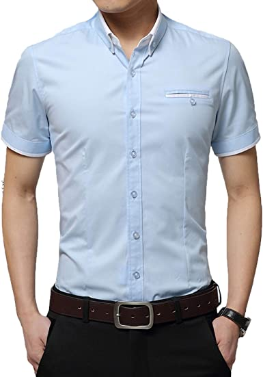 Outwears 2020 - Camisa de verano para hombre, manga corta, cuello redondo, esmoquin, talla grande 5XL: Amazon.es: Ropa y accesorios