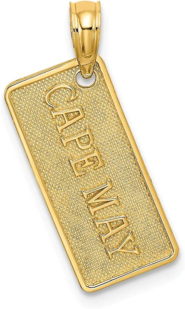 FB Jewels 14K Yellow Gold Small Cape May License Plate Textured Pendant