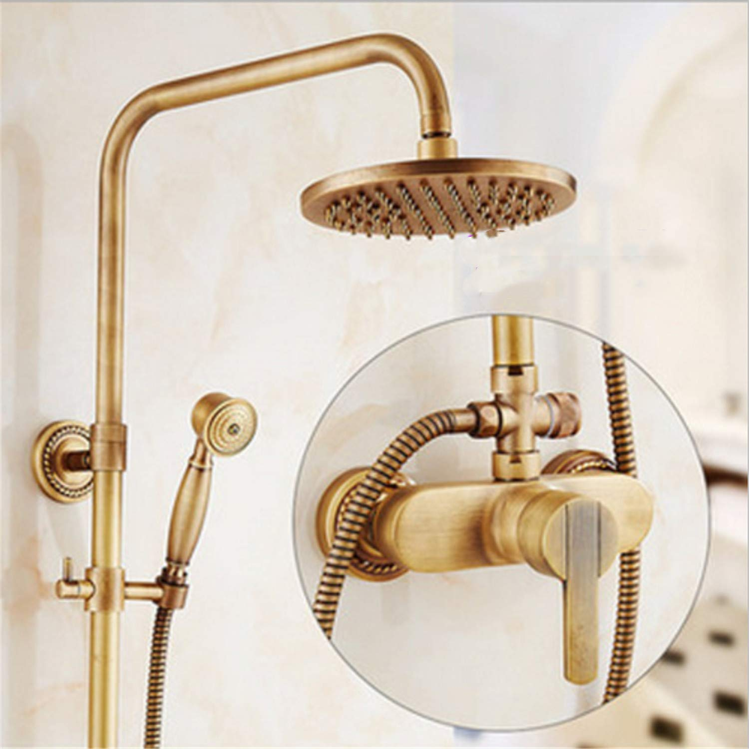 UNIQUE-F Selected All-Copper Antique Shower Set Rain Shower Type Bathroom Supercharged Spray Gun Hot Cold Water Effluent Fine 3 Styles by UNIQUE-F (Image #1)