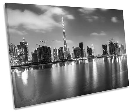 Dubai Skyline SINGLE CANVAS WALL ART Framed Print