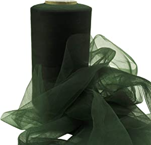 Tulle Roll Fabric Gift Craft for DIY Simple Princess Tutu Skirts Wedding Birthday Baby Shower Party Decorations Tulle (Dark Green, 6-Inch by 50-Yard)