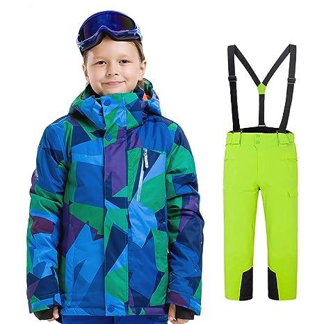Chaqueta y Pantalón Impermeable Unisex Niños Traje de esquí ...