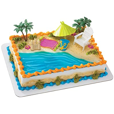 Beach Chair and Umbrella DecoSet Cake Decoration: Toys & Games