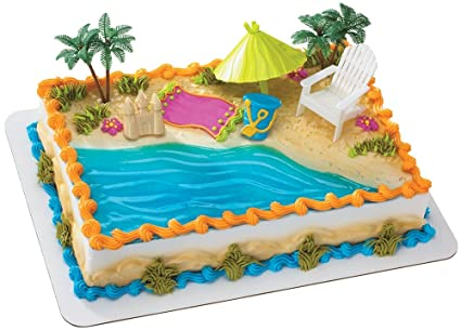 Amazon Beach Chair And Umbrella DecoSet Cake Decoration Toys