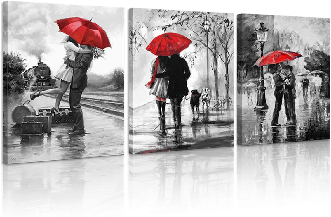 3 Panels Romantic Lovers Canvas Prints Red Umbrella Wall Art Decor Stretched Frames for Bedroom Bathroom Ready to Hang 12 x 16 in (Red Umbrella)