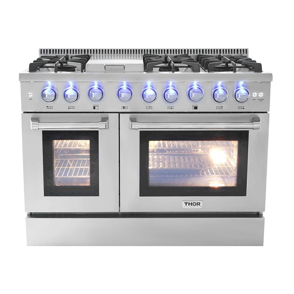 "Thor Kitchen 48"" Free Standing&Slide- in Gas Range 6 Burners 1 Griddle 6.7cu.ft Oven Propane/NG Double Oven with (HRG4808U-LP)"