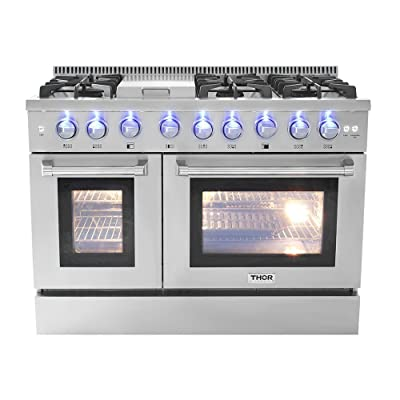 Buy Thor Kitchen 48 Free Standing Slide In Gas Range 6 Burners 1 Griddle 6 7cu Ft Oven Propane Ng Double Oven With Hrg4808u Lp Online In Turkey B01ijayiku