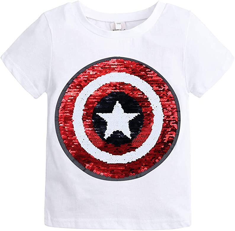 Lentejuelas Infantiles Magia Deportes Camiseta de algodón Camisa Manga Corta (2-10 años de Edad) ((12-24) Mes, Blanco): Amazon.es: Ropa y accesorios