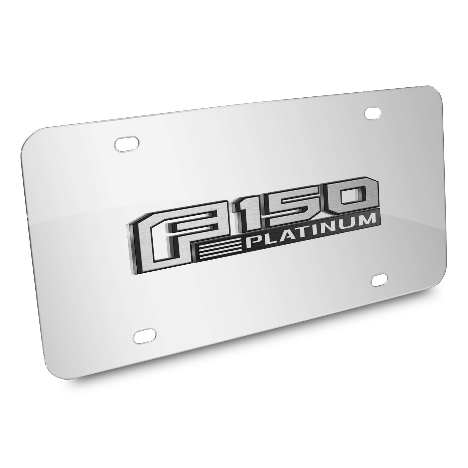 3D Logo Mirror Chrome Stainless Steel License Plate iPick Image Ford F-150 Platinum