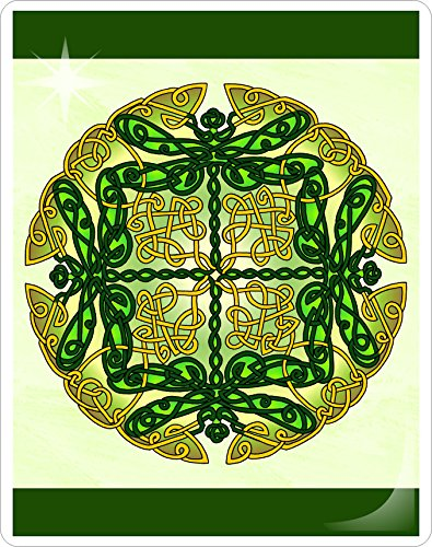 Celtic Art Dragonflies Mandalynth Laminated Card: Focus Tools for Stress, Anxiety, PTSD, ADHD & Autism (Green) (Best Stylus For Puzzle And Dragons)