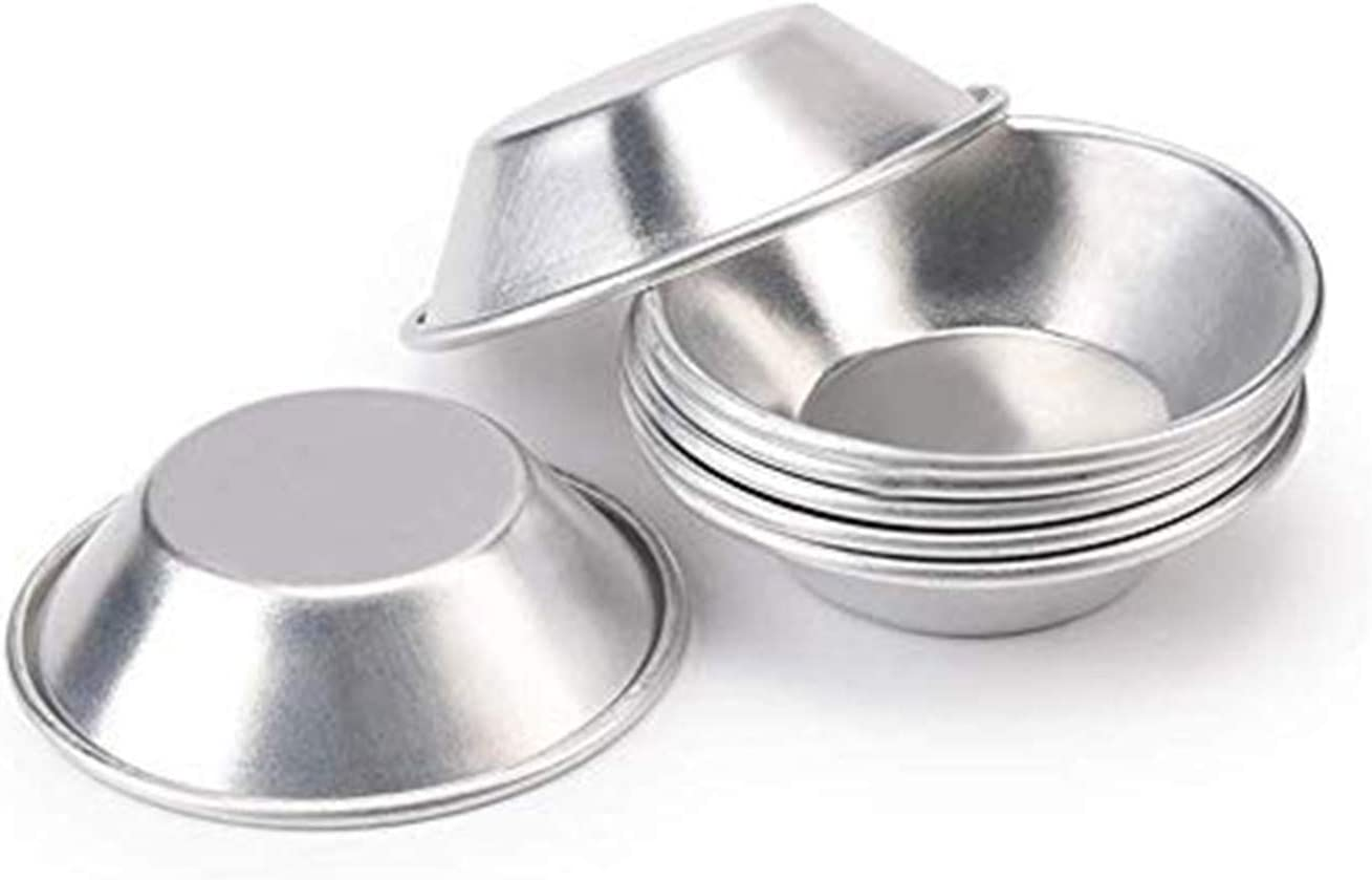 10 pcs Reusable Silver Stainless Steel Cupcake Mold Cookie Egg Tart Pudding M yi