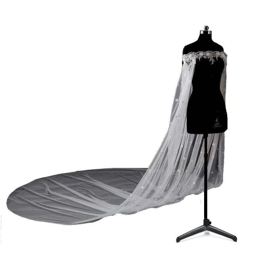 Women's Elegant Tulle Wedding Cape Lace beading 3M Bridal Cloak Wedding Jacket Cosplay Cloak