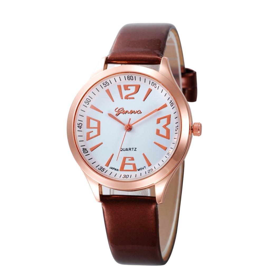 レディースシンプルカジュアル腕時計、SinmaゴールドFramel腕時計大きな数字アナログクオーツRound Watch B0716S3YJT Red
