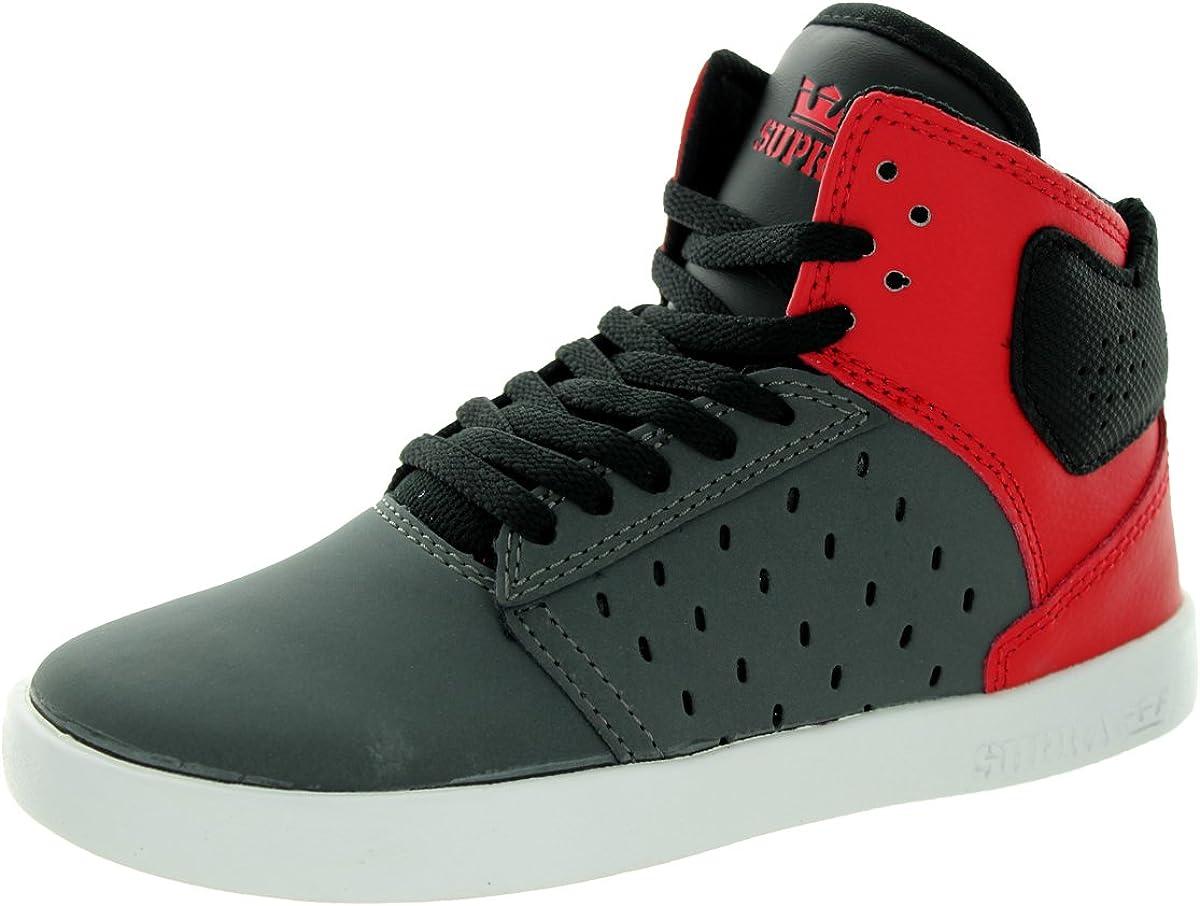 Supra Kids-Atom Grey//Red//White Skate Shoe 11 Kids US