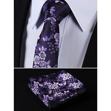 CDBGPZLD Seda Corbata Set Púrpura floral 100% seda tejida ...