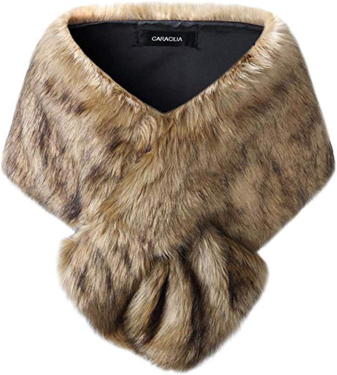 Women Faux Fur Collar Shawl...