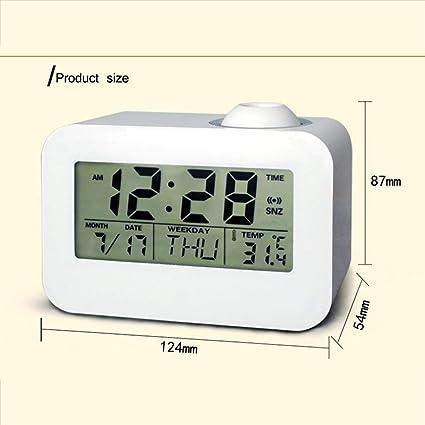 Dooret Reloj de proyección LCD Mesa de Escritorio electrónica Reloj de Alarma de cabecera con Control