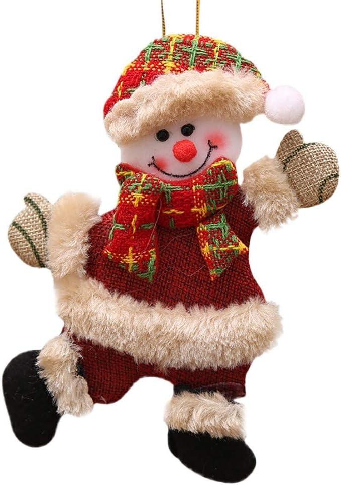 Auplew D/écor de No/ël Arbre de No/ël Ornement de poup/ée en Tissu Doux Santa Mignon Bonhomme de Neige Santa Deer pour la Maison Porte