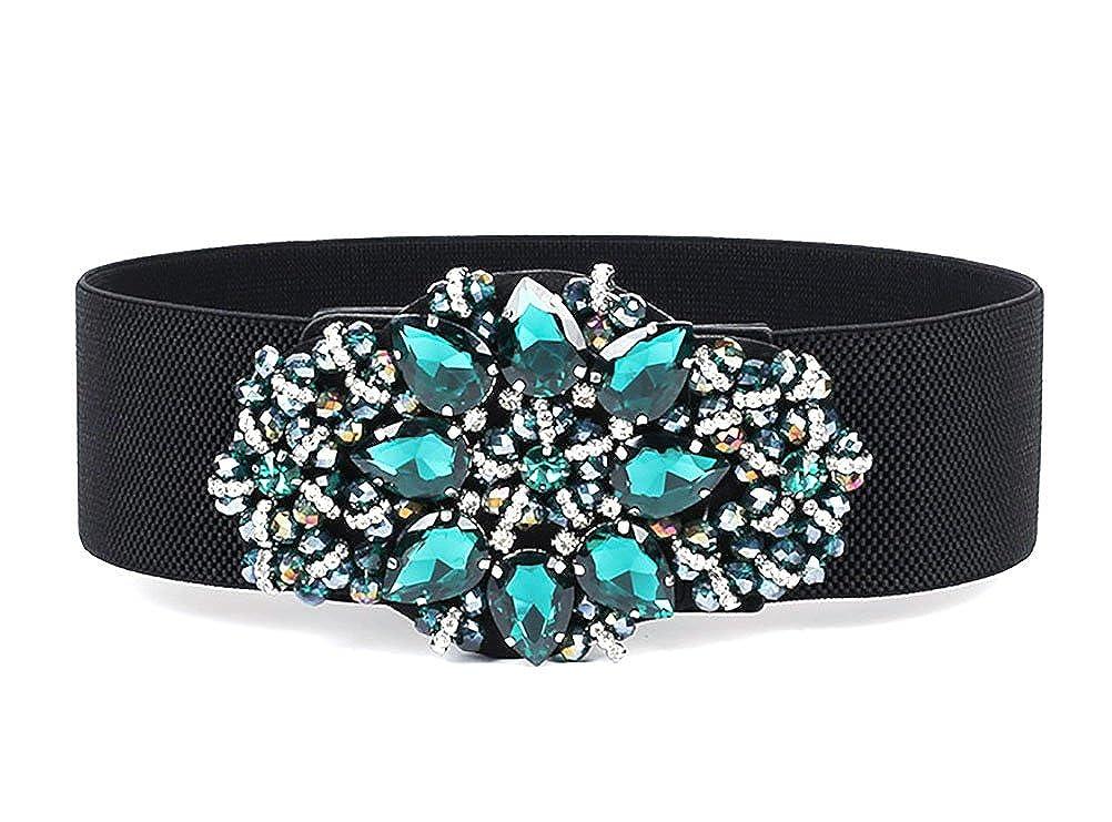 TALLA Talla única. TY belt mujeres de las muchachas forman la hebilla tachonada del diamante artificial grande La correa de cintura ancha elástico ajustable