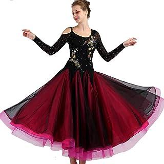 Robe de Danse Moderne pour Femmes Grande Jupe Pendule Costume de Bal Robe de Danse Brodée de Compétition 40D Spandex Mesh/Fil Haute Densité Rongg