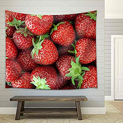 Fresh Ripe Strawberry Closeup Fabric Wall, Professional Creation, Dazzling Piece of Art