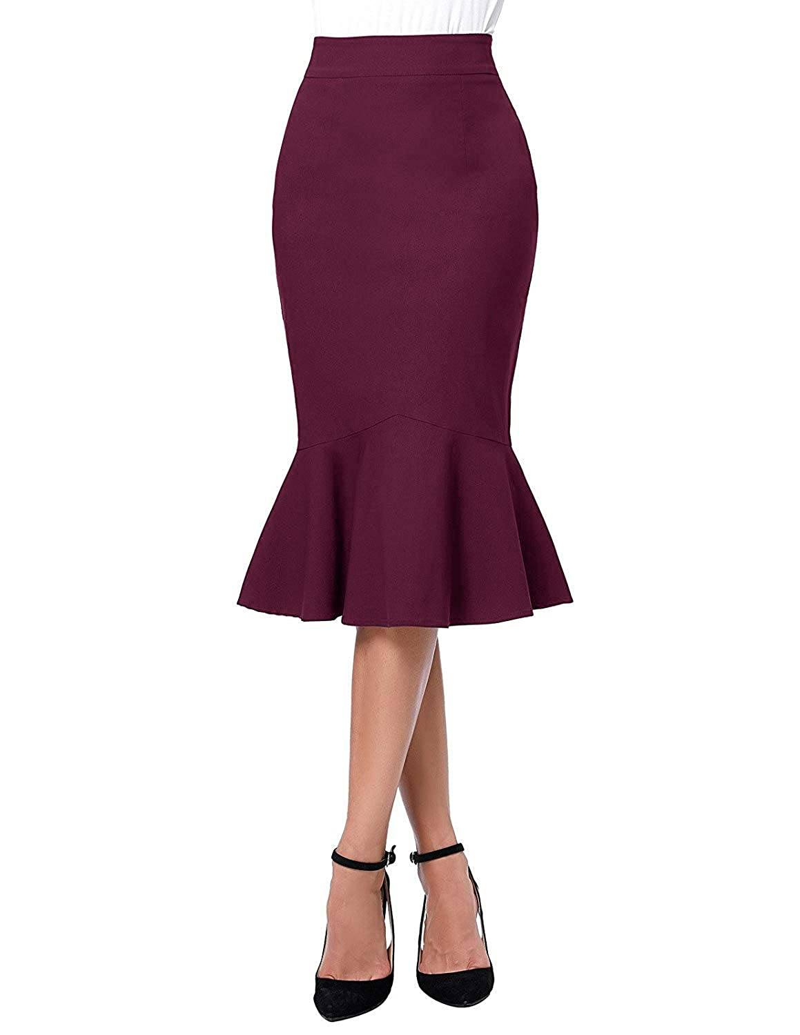 4f1c16c80 Women High Waist Bodycon Fishtail Skirts Mermaid hemline, Concealed zipper  in the left side. Suitable for Casual Occasion, Party, Cocktail, Office, ...