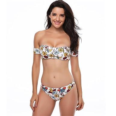 d4c5dbf1facd3 Two Pieces Swimwear Bikini Top   Bottom Bathing Suits Beachwear Set Bra  Swimsuit Women Printing Used