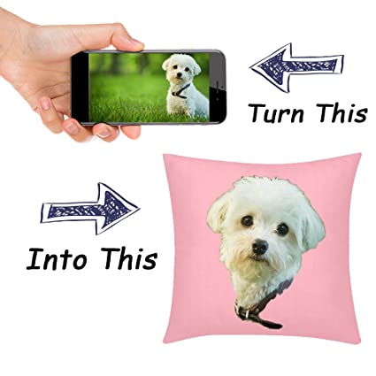 Etype Custom Photo Graphic Printed Throw Pillow Cover Case Crop Face to  Print Fit Any Photo 20