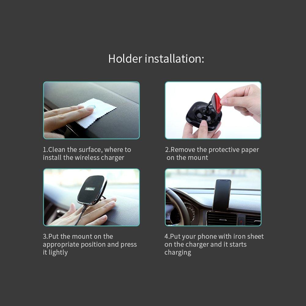 Nillkin Caricatore Wireless Auto Samsung Galaxy Note 9//8//S9//S9 C 2-in-1 Regolabile Caricatore Senza Fili Auto Culla Supporto Magnetico Air Vent Car Mount Holder per iPhone X//8//8Plus