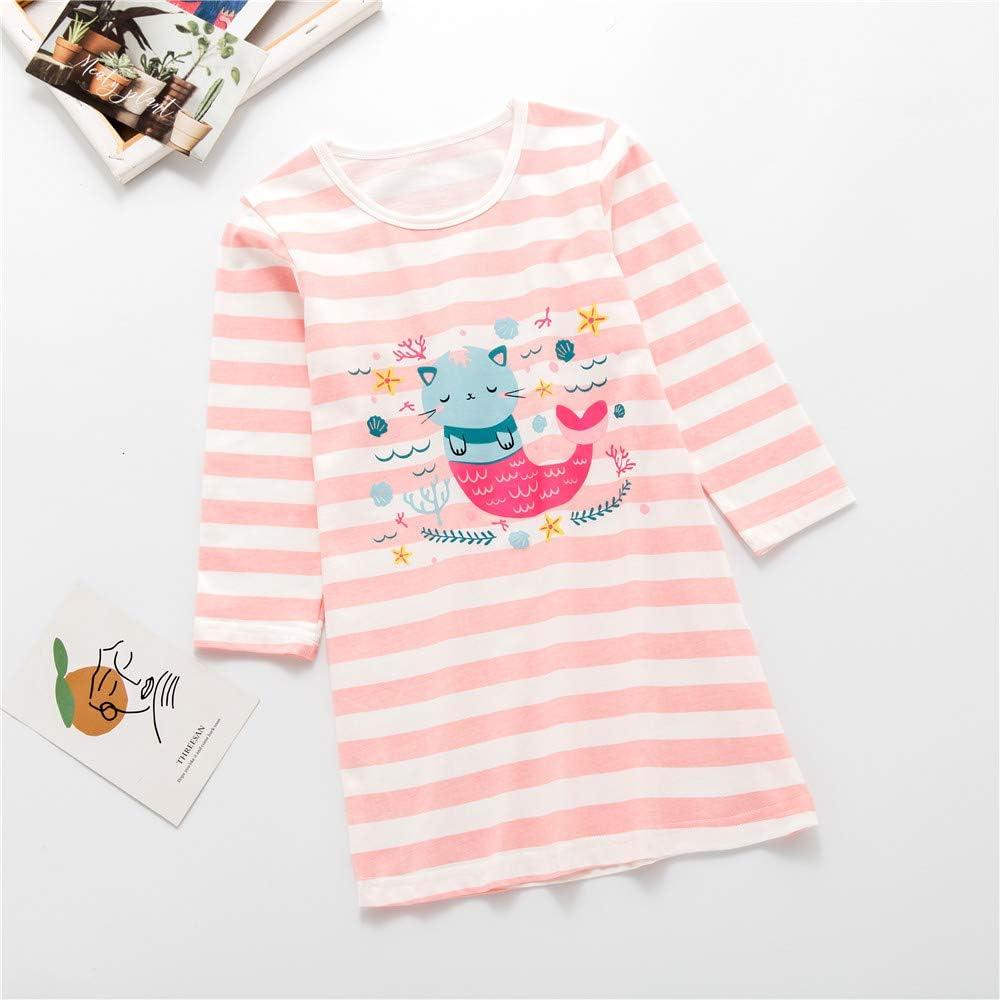 AOSKERA Matching Girls /& Dolls Nightgowns cat Mermaid unicron Sleepwear Cotton Pajamas Dress 3-12 Years