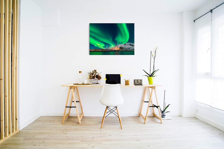 Revolio Taille: 40x30 cm D/écoration Murale Images sur Toile Impression Artistique aurores bor/éales Montagnes Vert Design Tableaux pour la Mur