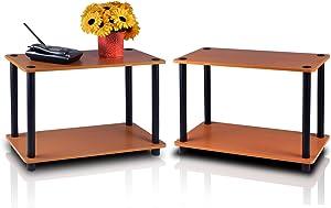 Furinno Turn-N-Tube 2-Tier Shelves/End Tables Set, 2-Pack, Light Cherry/Black