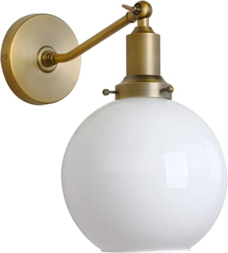 Industrial Loft Single Wall Lamp Gold Finished Globe Clear Glass Wall Sconces