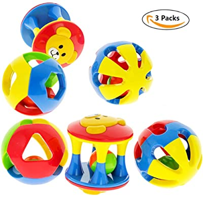 (Pack of 3)Baby Rattle Toys, Rolling Ball Shaker Handbells Shake and Grab Rattle Developmental Toy for Infant Newborn