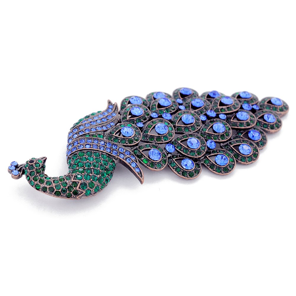 Large Multicolor Green /& Blue Crystal Peacock Brooch Pin
