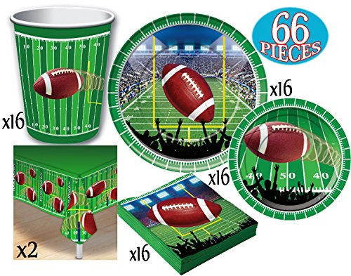 (Football Theme Party Supplies Pack for 16 People, Includes 16 Large Plates, 16 Small Plates, 16 Napkins, 16 Cups & 2 Table Covers - Perfect for Gameday or)