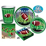 Football Theme Party Supplies Pack for 16 People, Includes 16 Large Plates, 16 Small Plates, 16 Napkins, 16 Cups & 2 Table Covers - Perfect for Gameday or Birthday