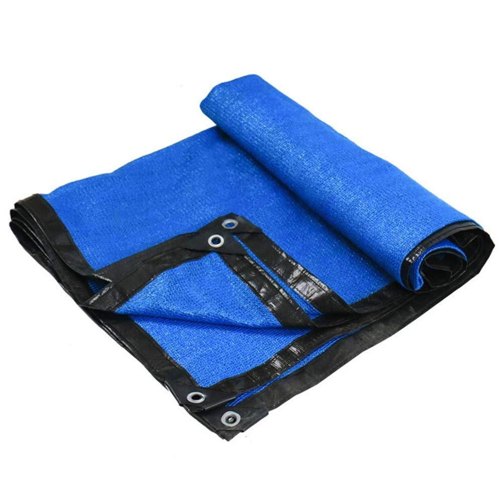SHIJINHAO オーニングシェード遮光ネット スイミングプール 日焼け止め 影 カバー 酸化防止剤 エッジ保護 メタルホール ポリエステル、20サイズ、2色 (Color : 青, Size : 8x8m) 青 8x8m