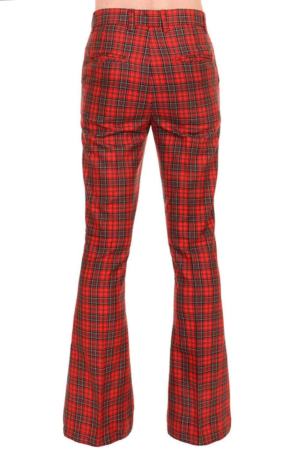 Mens Run & Fly 60s 70s Vintage Red Royal Stewart Tartan Plaid Bell Bottom  Trousers: Amazon.co.uk: Clothing