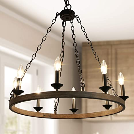 Log Barn Farmhouse Chandelier Dining Room Lighting Fixtures Hanging In Rustic Faux Wood Metal Finish Wagon Wheel Chandelier For Kitchen Island Foyer Bedroom Home Kitchen