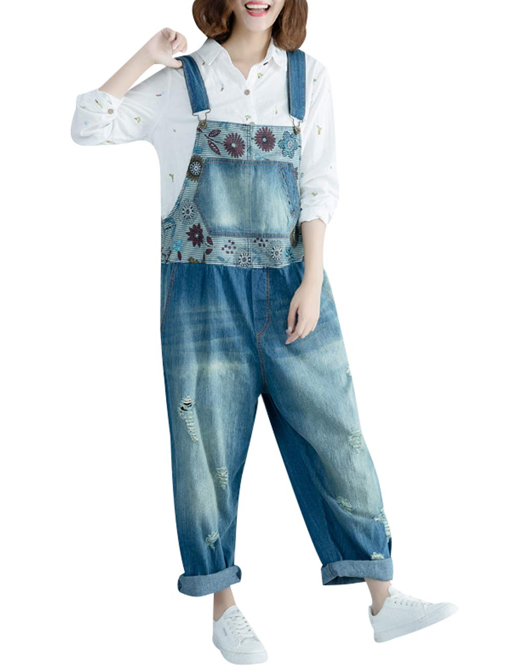 Zoulee Women's Casual Denim Bib Overalls Loose Jumpsuits Rompers Jeans Harem Pants Style 6 Blue by Zoulee
