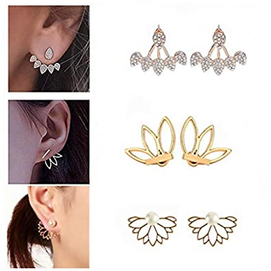 be59cb2f4fe2d SMUOBT Lotus Stud Earrings Lotus Flower Earring Studs Piercing Ear Jacket  Stud for Women and Girls