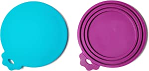 Apawlo Dog and Cat Food Can Lids (2 Pack), Silicone Can Covers for Wet Food Storage Container, Plum and Aqua, Can Topper, Universal Fit for 3 Standard Sizes, BPA Free and Dishwasher Safe