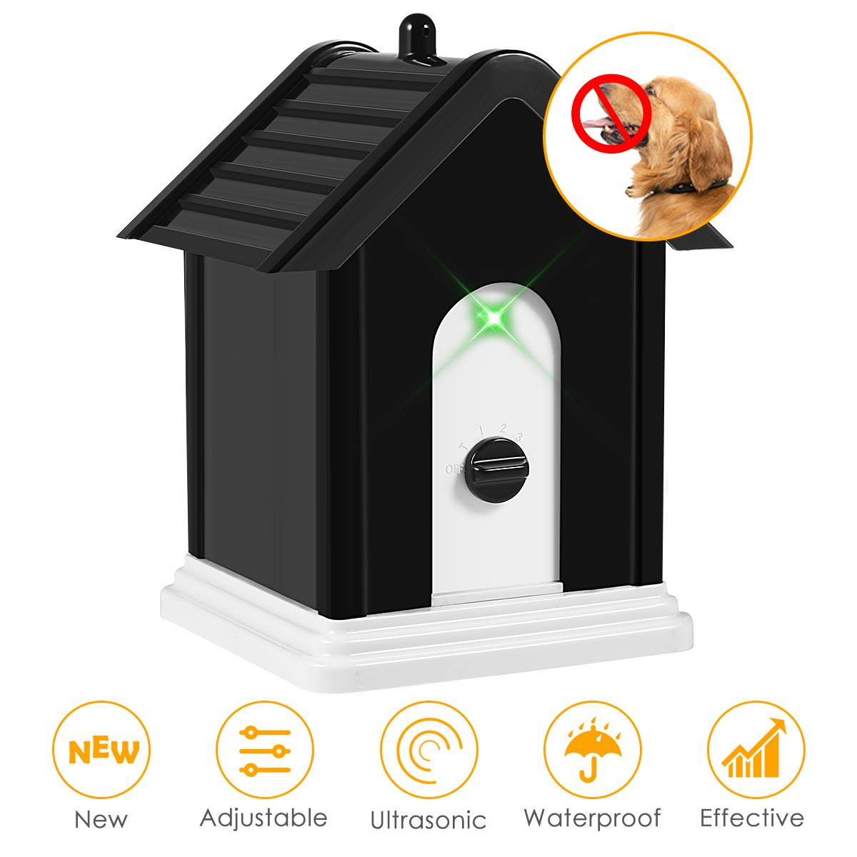 ELenest Anti Barking Device, 2019 New Bark Box Outdoor Dog Repellent Device with Adjustable Ultrasonic Level Control Safe for Small Medium Large Dogs, Sonic Bark Deterrents, Bark Control Device