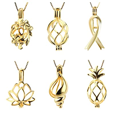 Amazoncom Mix 6 Different Shape Gold Plated Cage Pendants Flower