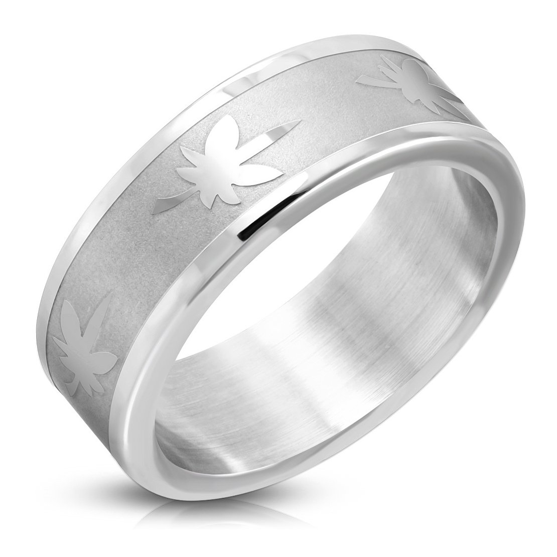 Stainless Steel Matte Finished Maple// Marijuana Ganja Leaf Flat Band Ring