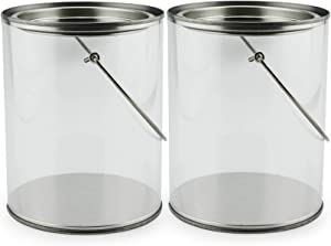 """Quart Size Clear Plastic Paint Cans (2-Pack); Decorative Faux """"Paint Pails"""" w/Handle & Bale for Crafts, Decorating, Baby Shower/Wedding Shower Decor, NOT Intended for Liquids or Heavy Objects"""