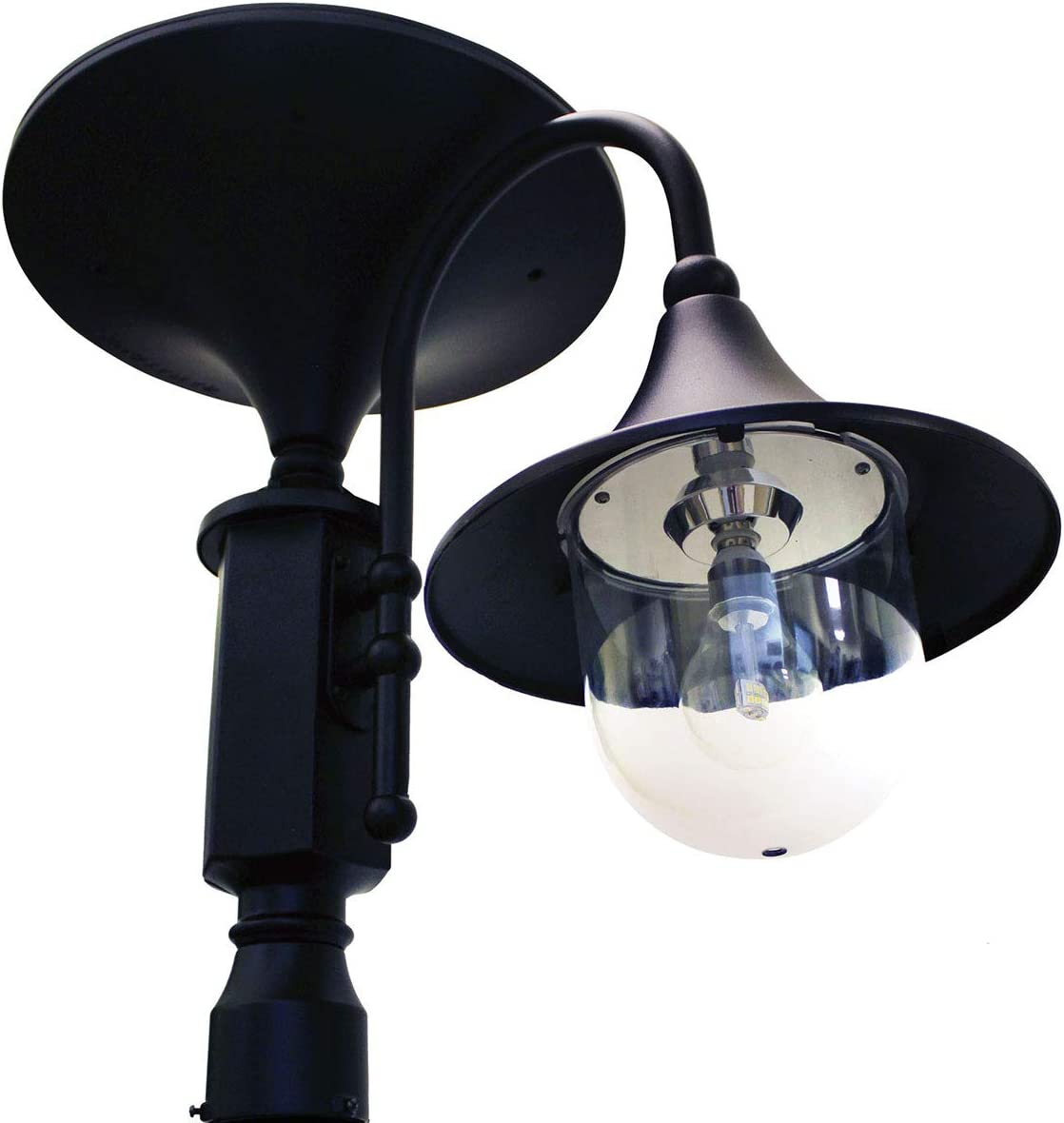 GAMA SONIC Everest II Commercial Solar Lamp, Singe Head, Black GS-129F